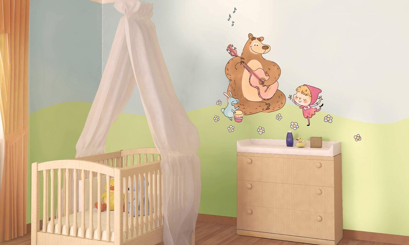 Stickers murali bambini cameretta masha e orso leostickers - Decorazioni murali camerette ...
